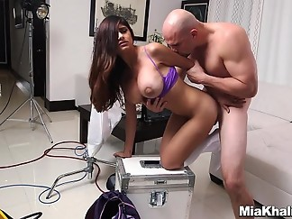 arab, behind the scenes, big dick, big tits, blowjob, glasses, hardcore
