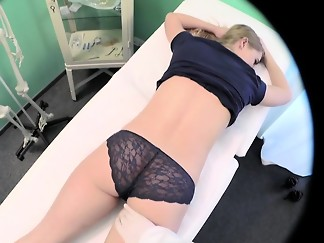 blonde, doctor, fake, fetish, hardcore, innocent, massage, medical, spit, uniform, voyeur