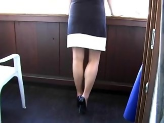 amateur, fetish, foot fetish, stockings, surprise, voyeur