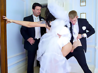 big ass, bride, brunette, mmf, threesome