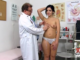 babe, brunette, czech, doctor, gaping, medical