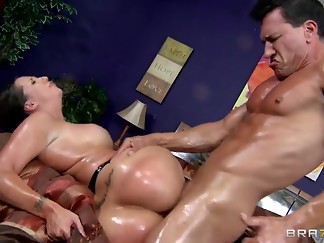 anal, asshole, babe, bbw, big ass, big dick, big tits, brunette, bubble, cock, stepdad, massive, muscle, oil, tan